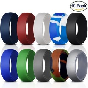 10 Pack Silicone Ring Rubber Wedding Bands for Men